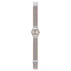 Swatch YSS327M Armbanduhr Full Silver Jacket Analog Quarz mit Edelstahl Armband Ø 25,00 mm