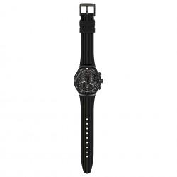 Swatch YVB409 Armband-Uhr Teckno Black Chronograph Quarz Kautschuk-Armband