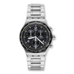 Swatch YVS444G Armbanduhr Night Flight Analog Quarz Edelstahl-Band Ø 43 mm