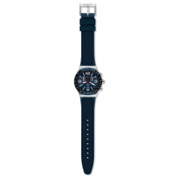 Swatch YVS454 Armbanduhr Blue Grid Analog Quarz mit Gummi Armband Ø 43,00 mm