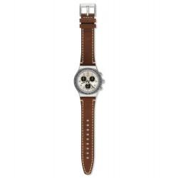 Swatch YVS455 Armbanduhr Rhum Analog Quarz mit Leder Armband Ø 43,00 mm