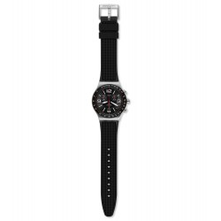 Swatch YVS461 Armband-Uhr Very Dark Grid Chronograph Quarz Silikon-Band