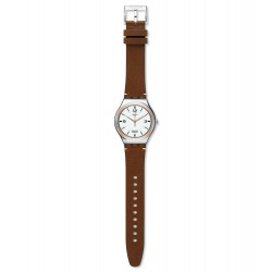 Swatch YWS443 Armbanduhr TV Show Analog Quarz mit Leder Armband Ø 42,70 mm