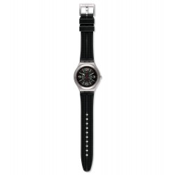 Swatch YWS444 Armbanduhr Black Grid Analog Quarz mit Gummi Armband Ø 42,70 mm