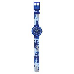Flik Flak FPNP058 Mädchen-Uhr Wooflage Analog Quarz Textil-Armband