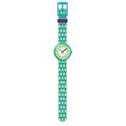 Flik Flak FPNP062 Mädchen-Uhr Lemon Freeze Analog Quarz Textil-Armband