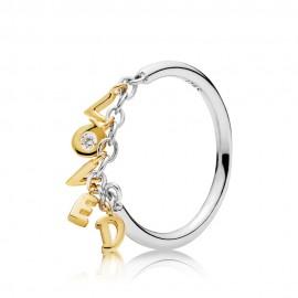 Pandora Shine 167799CZ Ring Damen Loved Script Gold Silber
