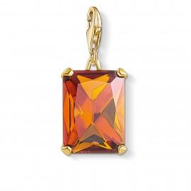 Thomas Sabo 1840-472-8 Charm-Anhänger Großer Stein Orange Silber Vergoldet