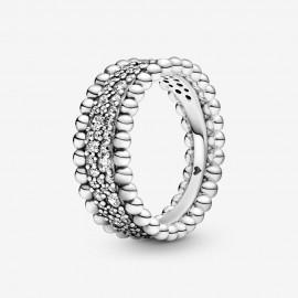 Pandora 198676C01 Ring Damen Metallkugel Pavé Band Silber