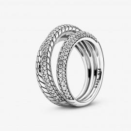Pandora 199083C01 Ring Pavé Schlangengliedermuster Dreifach Silber