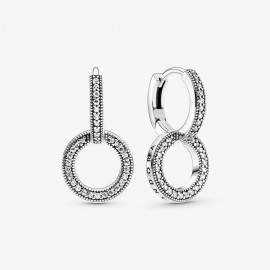 Pandora 299052C01 Creolen Damen Funkelnde Doppel-Ohrringe