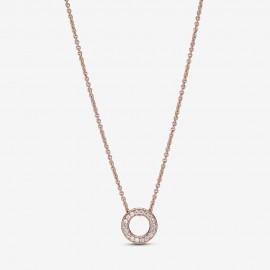 Pandora Rose 387436C01 Halskette mit Anhänger Damen Logo Pavé-Kreis 45 cm