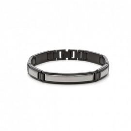 Monomania 41475 Armband Herren Schwarz Silber Edelstahl 21 cm