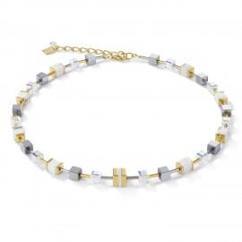 Coeur de Lion 4965/10-1614 Halskette Damen GeoCUBE® Kristall Pavé Swarovski® Kristalle Howlith Gold-Weiß
