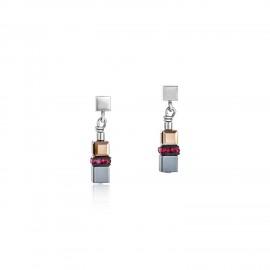 Coeur de Lion 4977/21-0300 Ohrringe GeoCUBE® Hämatit & Swarovski® Kristalle Rot Edelstahl
