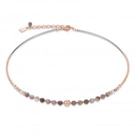 Coeur de Lion 4992/10-1012 Halskette Damen Swarovski® Kristalle Kugeln Botswana Achat Rosé