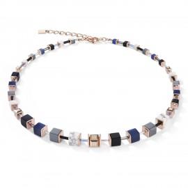 Coeur de Lion 5006/10-0700 Halskette Collier GeoCUBE® Blau Edelstahl Roségold