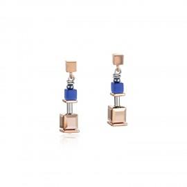 Coeur de Lion 5006/21-0700 Ohrringe GeoCUBE® Blau Edelstahl Roségold