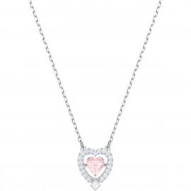 Swarovski 5465284 Kette mit Anhänger Sparkling Dance Heart Rosa Silber-Ton