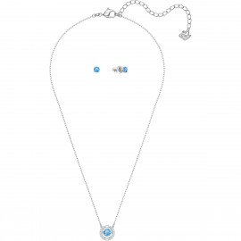 Swarovski 5480485 Set Kette Ohrringe Sparkling Dance Round Blau-Silber-Ton