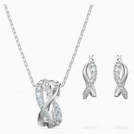 Swarovski 5579790 Halskette Ohrringe Set Damen Twist Weiss Silber-Ton
