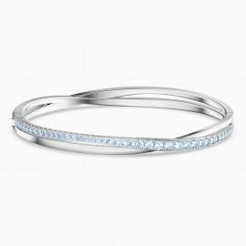 Swarovski Armreif Damen Twist Rows Blau Silber-Ton