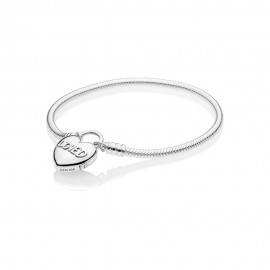 Pandora 597806 Armband Moments Smooth Silver Padlock You Are Loved Heart