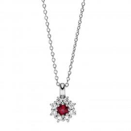 Viventy 783402 Halskette mit Anhänger Rot Topaz Zirkonia Silber 45 cm