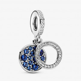 Pandora 799186C01 Charm-Anhänger Funkelnde Blaue Scheibe Silber