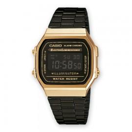 Casio A168WEGB-1BEF Unisex-Uhr Vintage Iconic Quarz Edelstahl-Armband