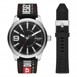 Diesel DZ1906 Set Herren-Uhr Rasp NSBB Analog Quarz Nylon-Silikon-Armband Ø 46 mm