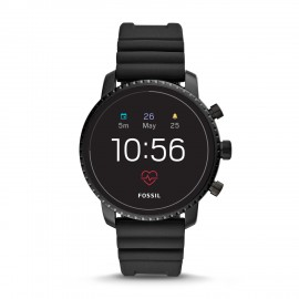 Fossil FTW4018 Smartwatch Herren Q Explorist HR 4. Generation mit Silikon-Band