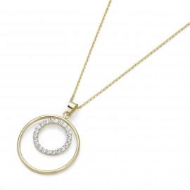 Karat 99016440450 Halskette Anhänger Damen Kreis 375/- Gelbgold Zirkonia