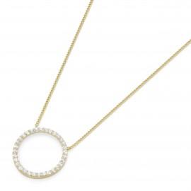 Karat 99023040450 Halskette mit Anhänger Kreis 375/- Gelb-Gold Zirkonia