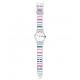 Swatch GL702 Armband-Uhr Pastel Zebra Analog Quarz Silikon-Armband