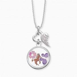 Engelsrufer HEN-GLAS-JOY Halskette mit Anhänger Pferd Blume Schmetterling