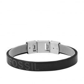 Fossil JF03119040 Armband Herren Duo Black Leder Edelstahl 19,5 cm
