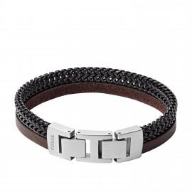 Fossil JF03180040 Armband Herren Duo Leder Edelstahl 19,5 cm