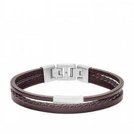 Fossil JF03323040 Armband Herren Multi-Strand Edelstahl Leder