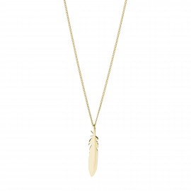 Fossil JF03381710 Halskette mit Anhänger Damen Feder Edelstahl Gold-Ton