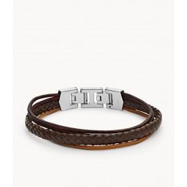 Fossil JF03390040 Armband Herren Multi-Strand Leder Edelstahl Braun