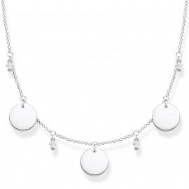 Thomas Sabo KE1960-051-21 Collier Damen Drei Coins Weiße Steine Silber