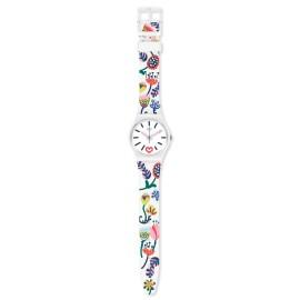 Swatch GW213 Armband-Uhr Just Flowers Analog Quarz mit Silikon-Band