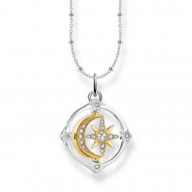 Thomas Sabo SCKE150285 Halskette mit Anhänger Damen Mond Stern Kompass Silber Vergoldet