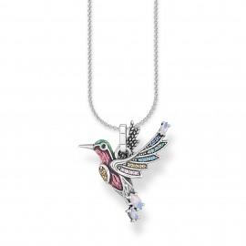 Thomas Sabo SCKE150288 Halskette mit Anhänger Damen Bunter Kolibri Silber