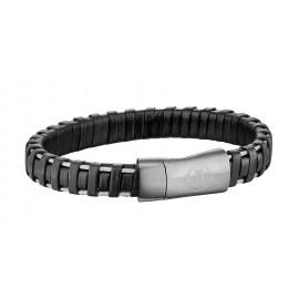 Police PJ25897BLB.01-L Armband Herren Spiral Leder Edelstahl Schwarz