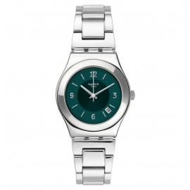 Swatch YLS468G Armband-Uhr Damen Middlesteel Analog Quarz Edelstahl-Band
