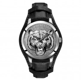 Thomas Sabo WA0367-203-201 Herren-Uhr Rebel Tiger 3D Quarz mit Leder-Band