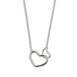 Xenox XS1758 Halskette mit Anhänger Damen Zwei Herzen Sterling-Silber