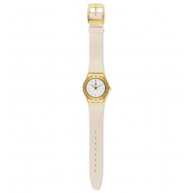 Swatch YLG137 Armbanduhr Linusa Analog Quarz mit Leder Armband Ø 33,00 mm